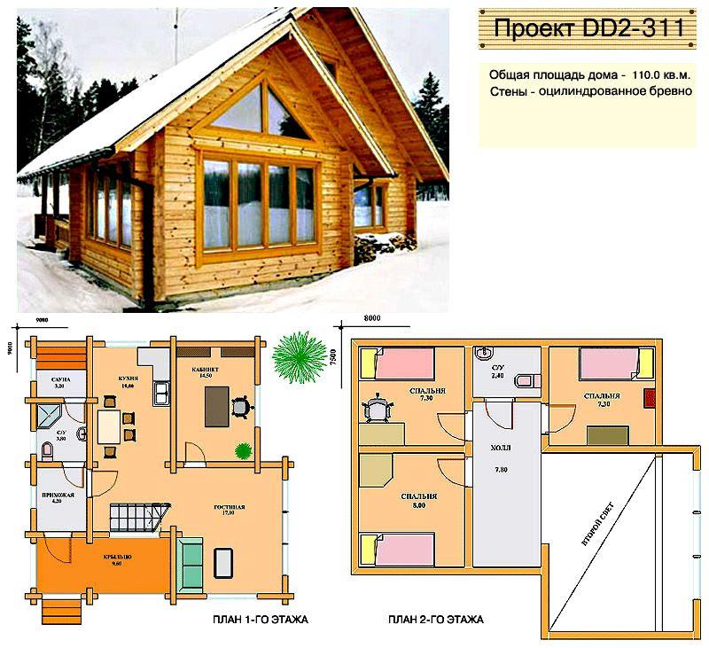 Простой дом из бруса с планировкой