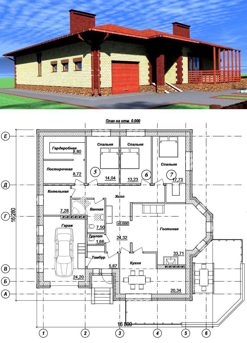 Планировка простого одноэтажного дома