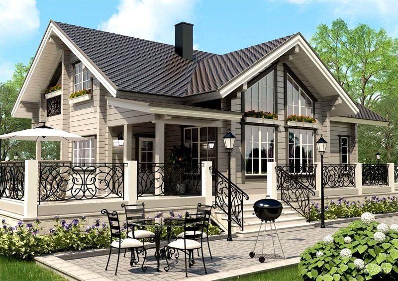 Оригинальный дом с верандой и прилегающей террасой