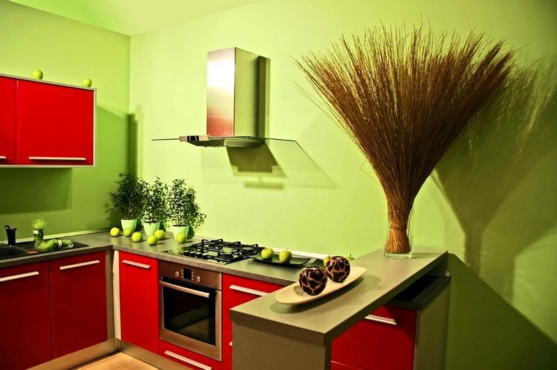 Сочетание цветов в интерьере кухни красный