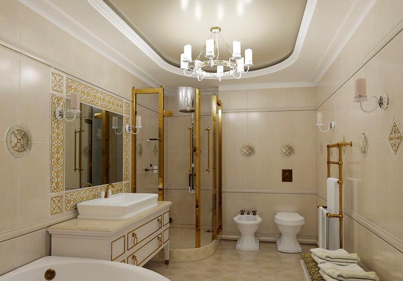 В ванной комнате лампы должны быть надежно защищены плафоном
