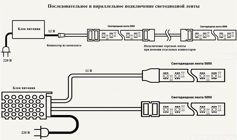 Подсоединение элементов выполняют в соответствии с выбранной схемой