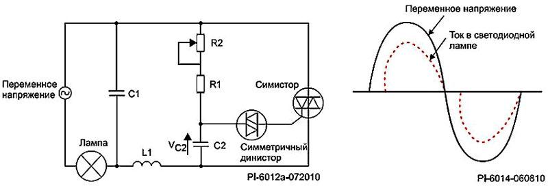 Схема светорегулятора с симистором и динистором