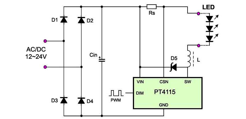 Возможный вариант сборки схемы драйвера для светодиодов на базе pt4115