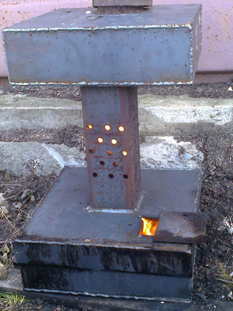 Печка с дожигателем из профилированной трубы