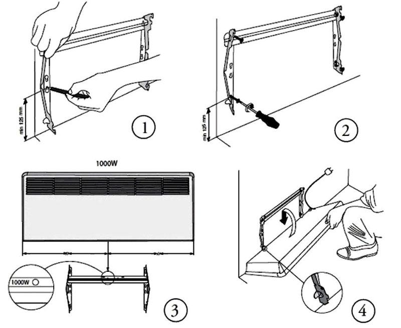 Экономный настенный электрический обогреватель можно установить быстро, с применением простых ручных инструментов