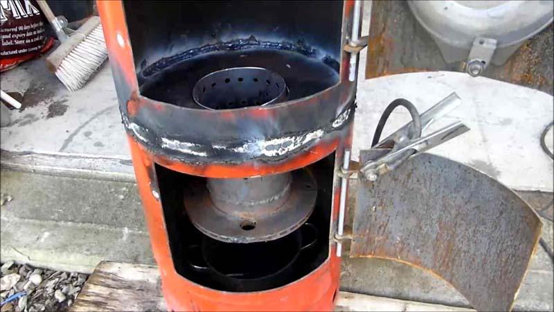 Печка закрытого типа из газового баллона