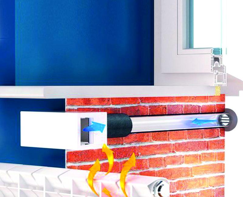 Воздушный клапан для притока воздуха, установленный в стене здания