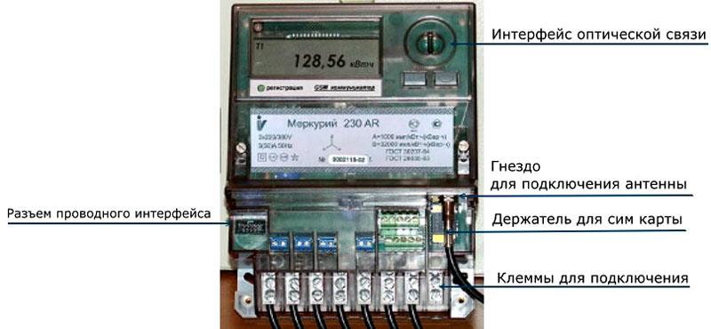 Части электросчётчика с передающим устройством