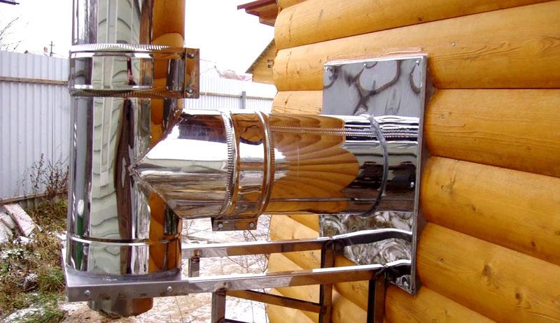 Дымоход можно вынести за контур основного строения, если камин, как на фото, устанавливается в деревянном доме