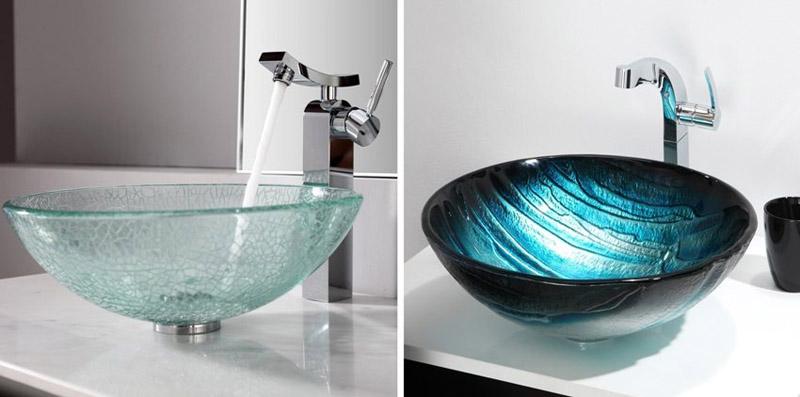 Накладные раковины для ванной комнаты из закалённого стекла