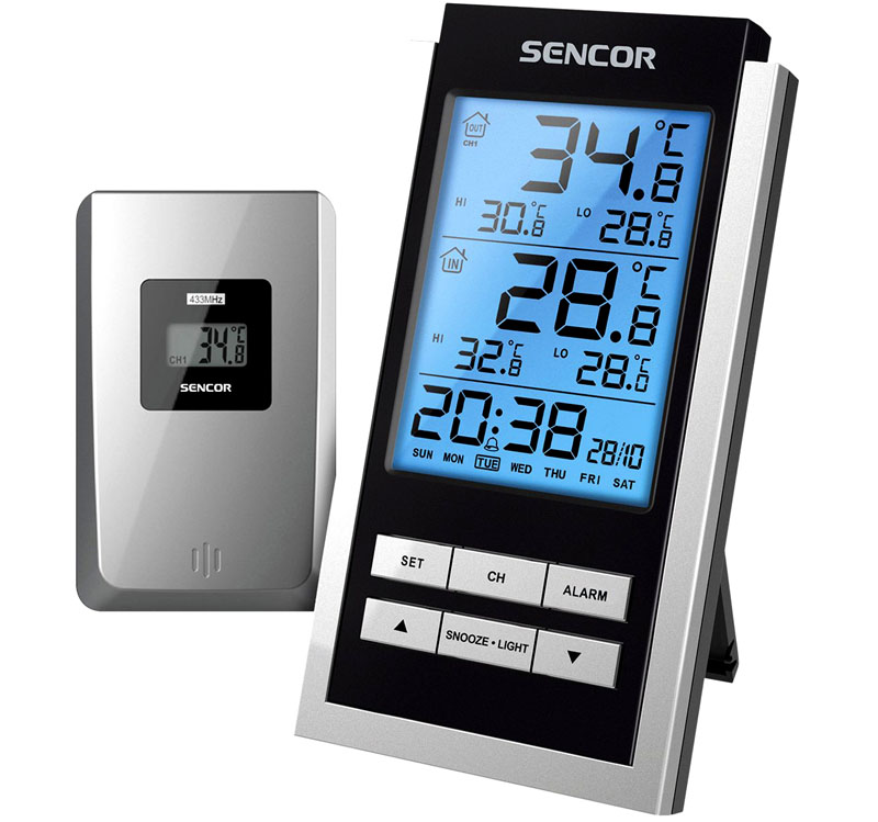 Термометр с подсветкой, часами и будильником