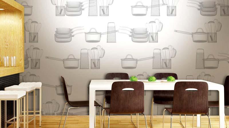 Для стен кухни можно подобрать обои с характерным рисунком