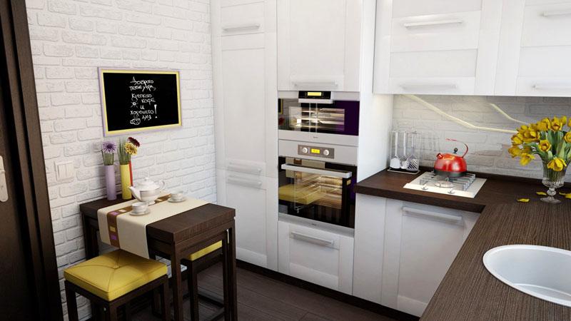 Белые обои выигрышно смотрятся на маленькой кухне