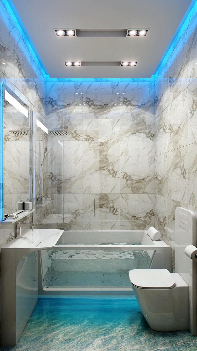 Тройной уровень освещения маленькой ванной