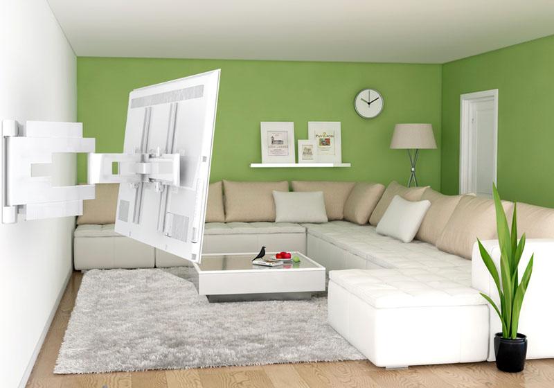 Модель телевизора выполнена в белом корпусе, она лаконично смотрится с крепежом того же цвета