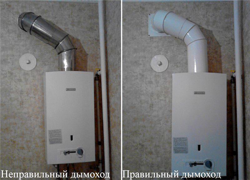 Дымоход от газовой колонки должен герметично прилегать к стене