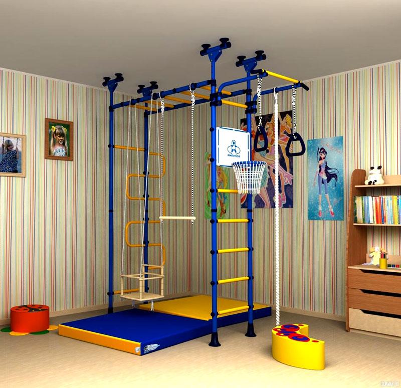 Комплектация ДСК шведской стенкой, качелями и баскетбольной корзиной подойдёт детям разного возраста