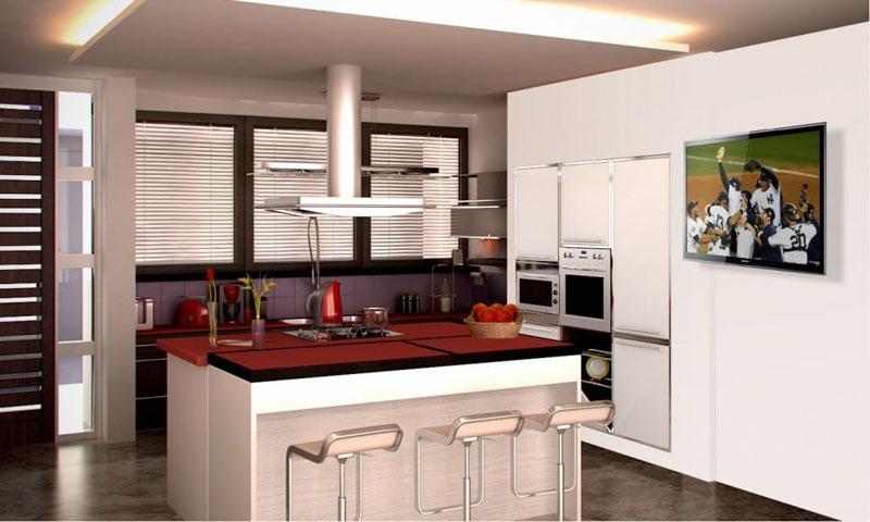 Телевизор на кухне обеспечивает комфорт домохозяйке в момент приготовления пищи