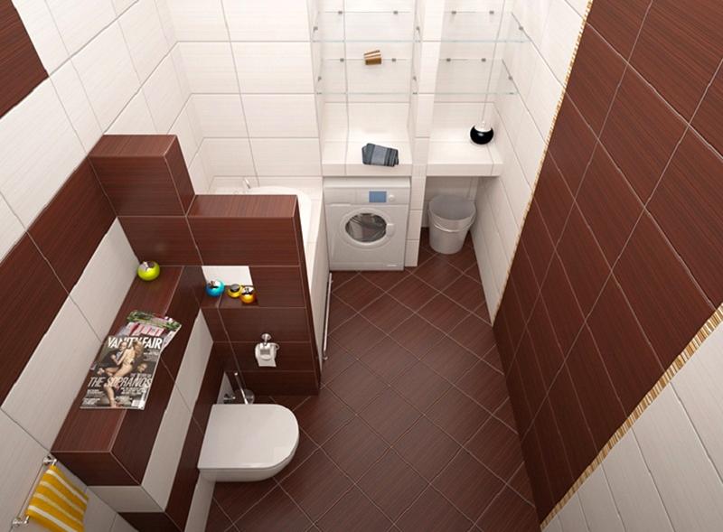 Выделение зон в ванной комнате плиткой разных цветов