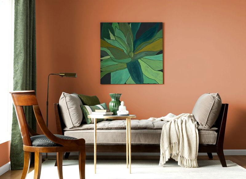 Терракотовый цвет: фото в интерьере