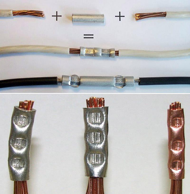 Соединение проводов гильзами