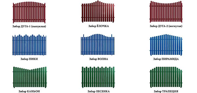 Различные виды заполнений пролётов штакетника