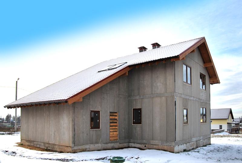 Дом, отделанный снаружи ЦСП панелями