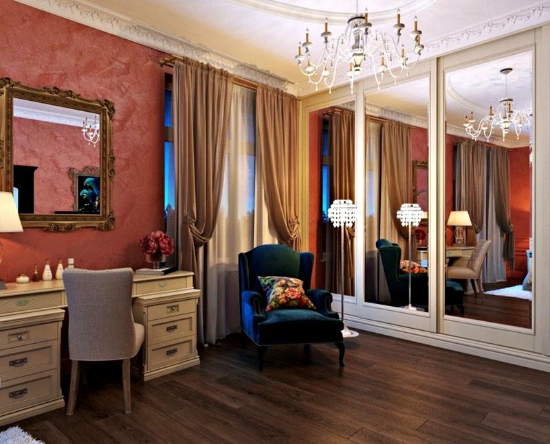 Сделать стену светлее можно за счёт белой мебели и более светлого текстиля на окне