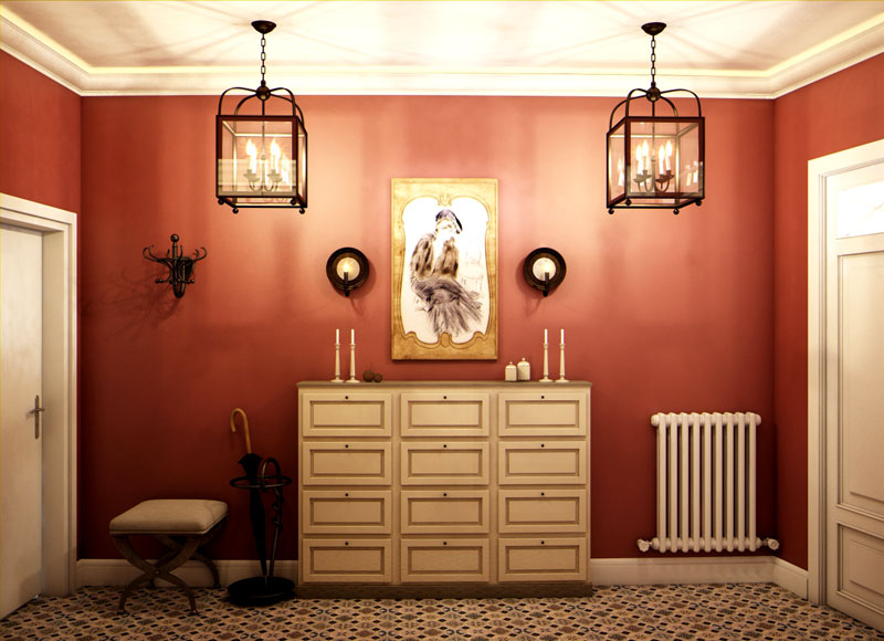 Чтобы прихожая казалась светлее, потолок и двери выполняют в белом цвете