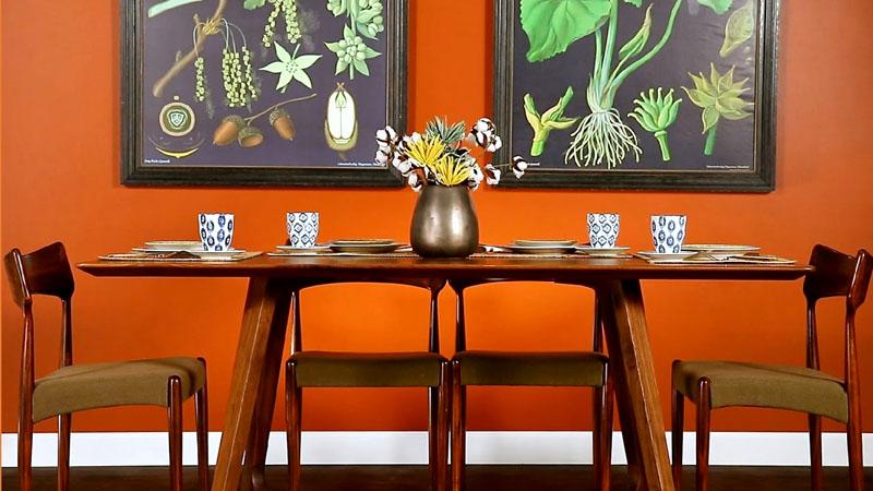 В столовой придать изысканности обстановке можно при помощи болотных и чёрных оттенков