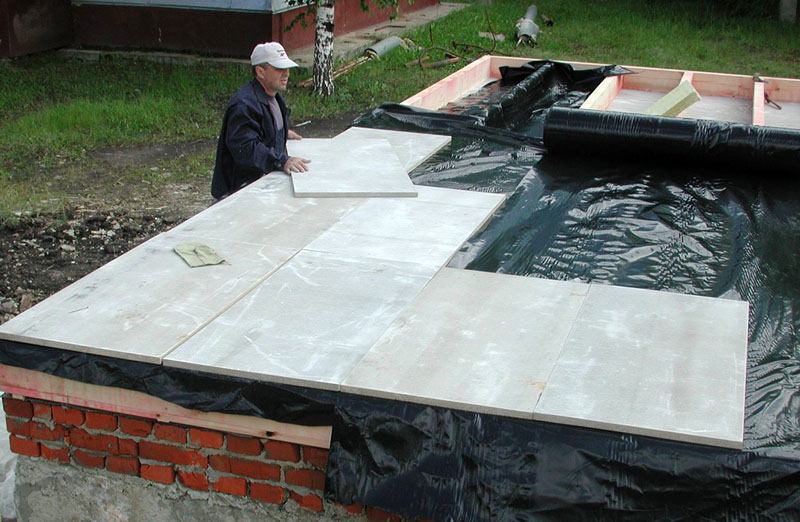 Укладка ЦСП плит на пол по лагам с прокладкой теплоизоляции