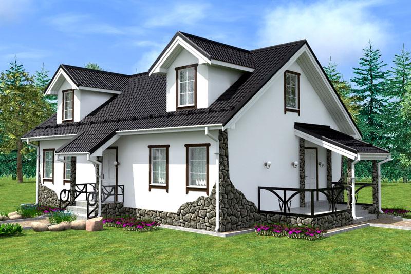 Фасадное оформление частного дома – камень и штукатурка