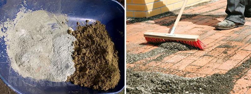 Засыпка смеси песка и цемента между тротуарными плитками