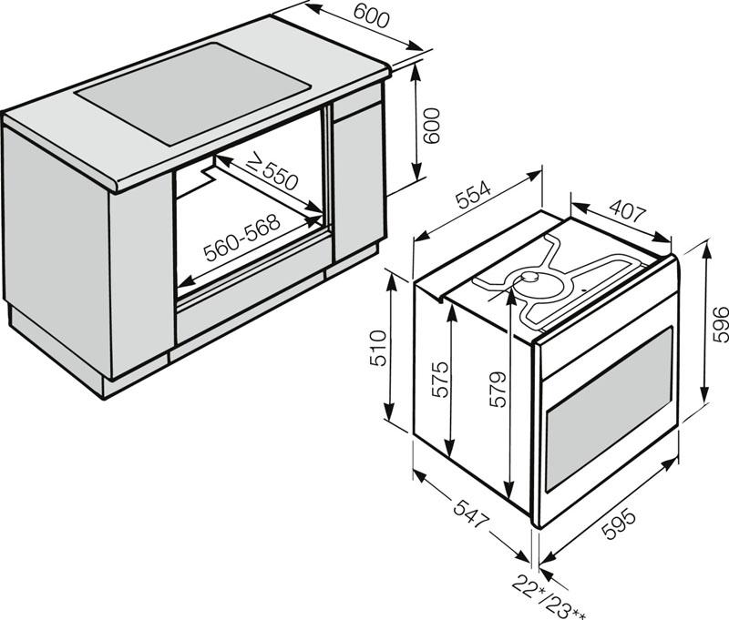 Размеры встраиваемой техники соответствуют габаритам стандартной корпусной мебели для кухни