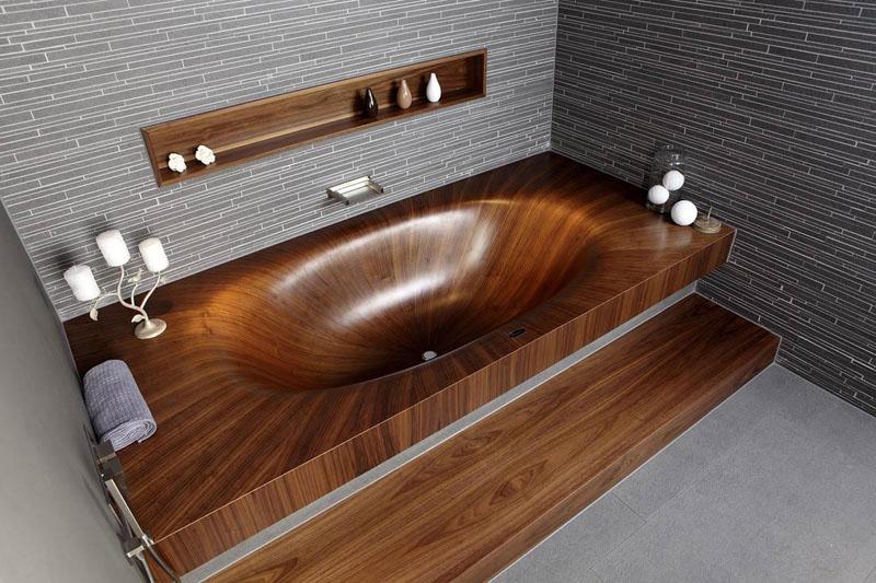 Предметы из натуральной древесины – это классика. Стоит такая мебель недёшево, но зато она наполнит вашу ванную теплом и уютом