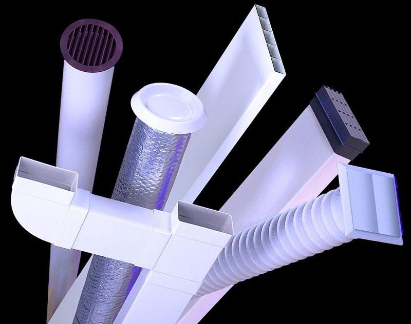 Разнообразные конструкции и материалы воздуховода
