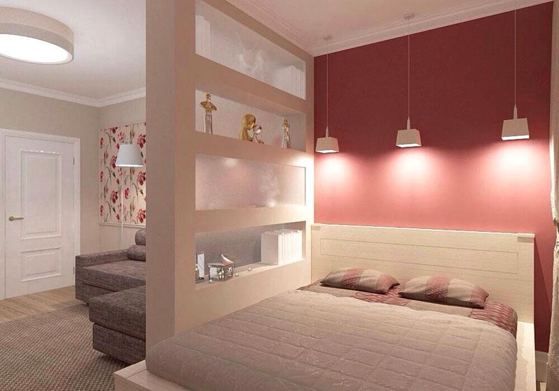 Выделение спальной зоны декоративной перегородкой