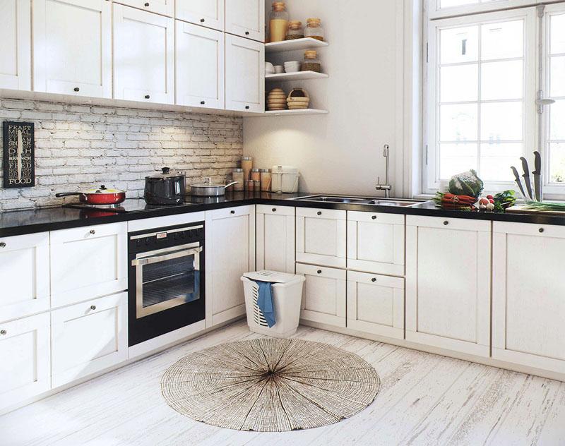 Кухонный пол выкладывается плиткой нейтральных оттенков или имитацией природного камня и дерева