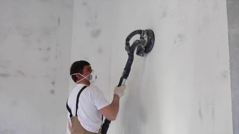 Шлифование стен машиной