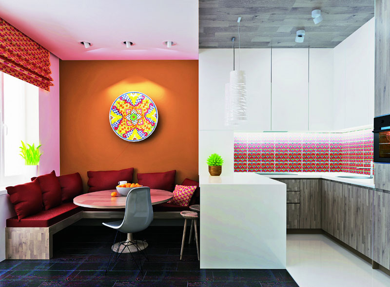 Различные по цвету и фактуре материалы для отделки стен подчинены одному стилю