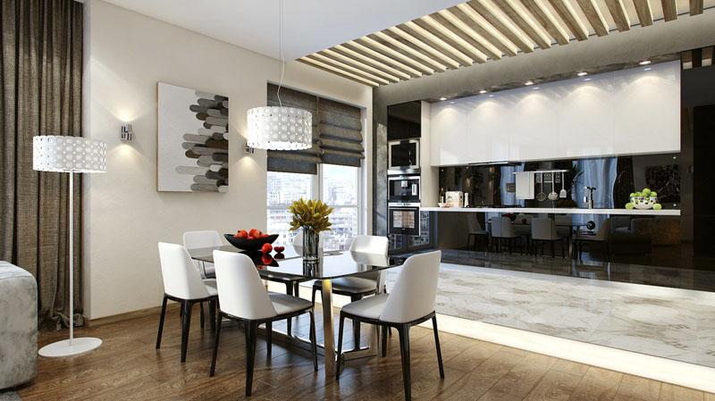 Потолочный подвесной светильник над столом сделает дополнительный акцент на обеденную зону