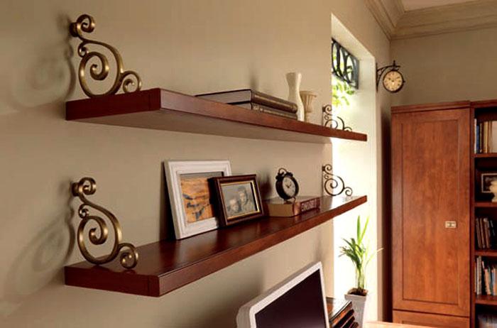 Классические навесные полки из металла и натуральной древесины