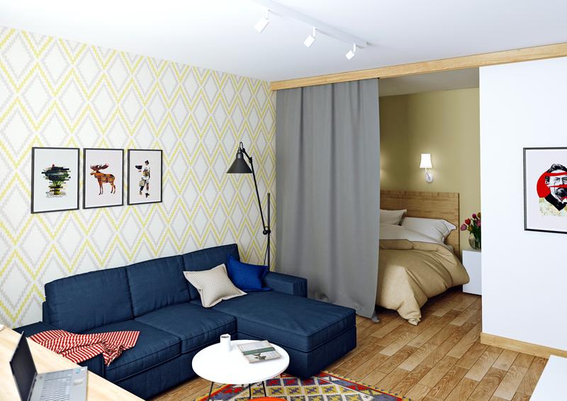В северных квартирах-студиях чаще используется визуальное зонирование