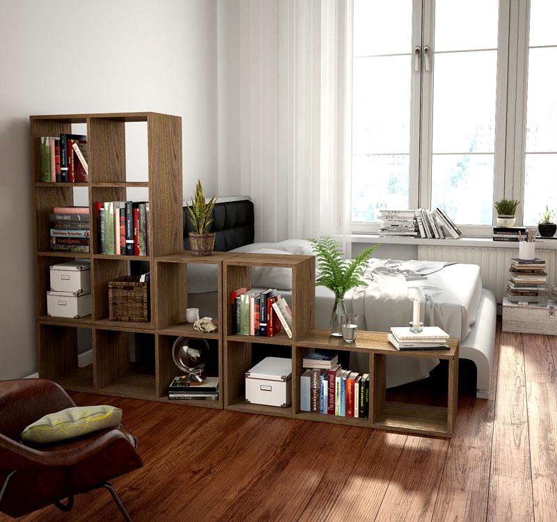 Напольная мебельная секция из отдельных ячеек
