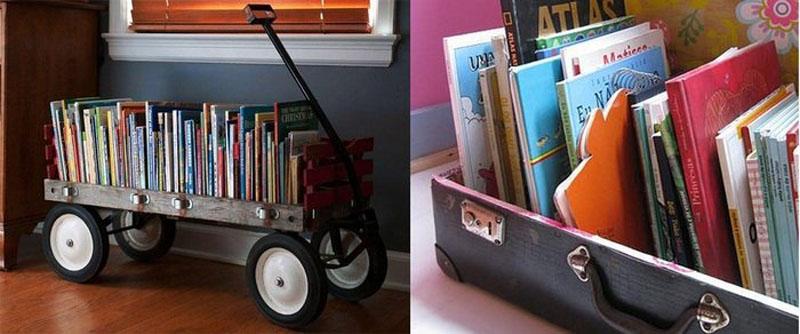 Примеры передвижных полок для книг