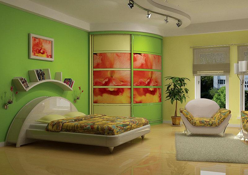 Фотопечать выполнена в общем дизайне спальни