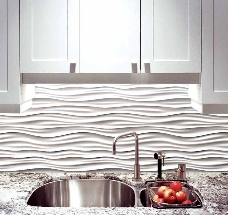 Кафель с 3D эффектом на рабочей поверхности