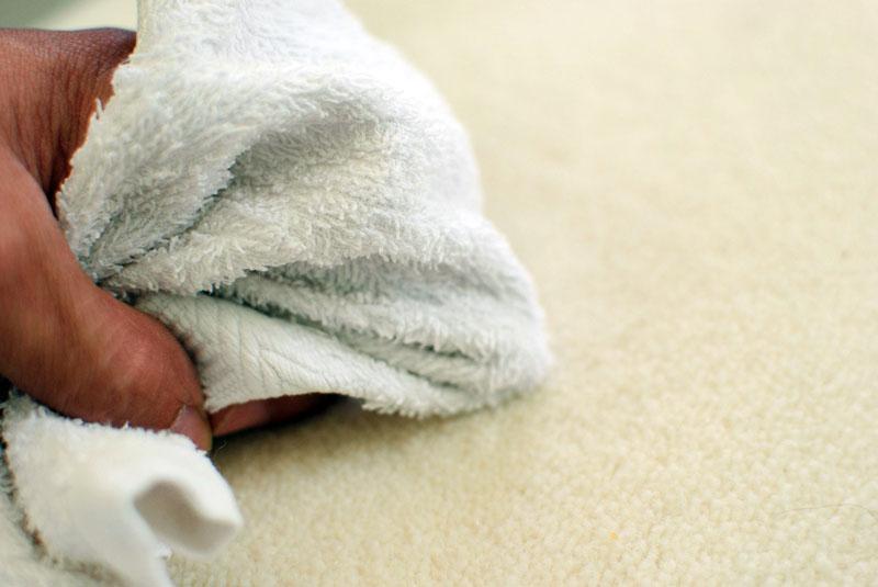 Пятно от фруктов предварительно нужно промокнуть чистой тканью