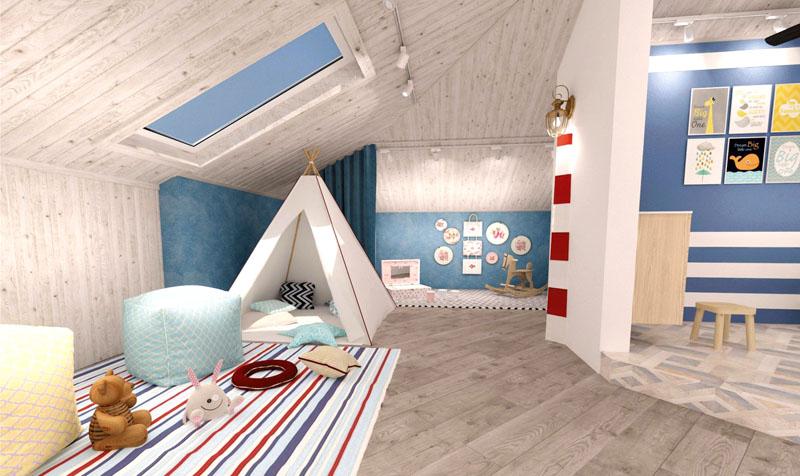 В мансардном помещении размещена детская комната с игровой зоной